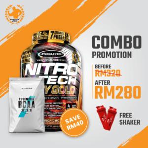 Combo Muscletech Nitrotech Whey Gold 5.5...
